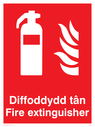 Welsh / English bilingual - fire extinguisher and flames Text: Diffoddydd tan / Fire Extinguisher