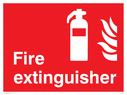 fire extinguisher & flames symbol Text: fire extinguisher