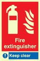 fire extinguisher & flames with mandatory exlamation Text: fire extinguisher keep clear