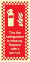 fire extinguisher & flames with checkered border Text: this fire extinguisher is missing replace with a new one