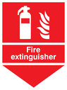 fire extinguisher & flames & arrow down Text: fire extinguisher