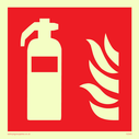 fire extinguisher & flames symbol, to mark the location of extinguishers. Text: None