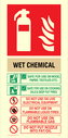 Wet Chemical fire extinguisher sign instructions for use Text: WET CHEMICAL SAFE FOR USE ON WOOD, PAPER, TEXTILES, ETC. SAFE FOR USE ON COOKING OILS & DEEP FAT FIRES. DO NOT USE ON LIVE ELECTRICAL EQUIPMENT DO NOT USE ON FLAMMABLE LIQUID FIRES DO NOT USE ON FLAMMABLE GAS DO NOT PUT NOZZLE INTO FAT/OIL