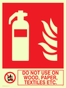 fire extinguisher & flames & prohibited symbol Text: do not use on wood paper textiles etc