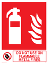 fire extinguisher & flames & prohibited symbol Text: do not use on flammable metal fires