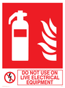 fire extinguisher & flames & prohibited symbol Text: do not use on live electrical equipment