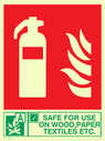 fire extinguisher & flames & tick symbol Text: safe for use on wood, paper, textiles etc