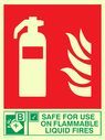 fire extinguisher & flames & tick symbol Text: safe for use on flammable liquid fires