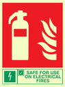 fire extinguisher & flames & tick symbol Text: safe for use on electrical fires