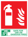 fire extinguisher & flames & tick symbol Text: safe for use on gaseous fires