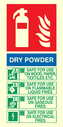 Dry Powder fire extinguisher sign instuctions for use. Text: DRY POWDER SAFE FOR USE ON WOOD, PAPER, TEXTILES, ETC SAFE FOR USE ON FLAMMABLE LIQUID FIRES SAFE FOR USE ON GASEOUS FIRES SAFE FOR USE ON ELECTRICAL FIRES