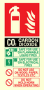 CO2 fire extinguisher sign instructions for use Text: CO2 SAFE FOR USE ON FLAMMABLE LIQUID FIRES SAFE FOR USE ON ELECTRICAL FIRES DO NOT USE ON WOOD, PAPER, TEXTILES, ETC DO NOT HOLD HORN WHEN OPERATING