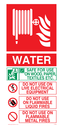 fire hose reel & flames Text: WATER SAFE FOR USE ON WOOD, PAPER, TEXTILES, ETC DO NOT USE ON LIVE ELECTRICAL EQUIPMENT DO NOT USE ON FLAMMABLE LIQUID FIRES DO NOT USE ON FLAMMABLE METAL FIRES