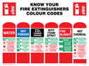 fire extinguisher instructions Text: KNOW YOUR FIRE EXTINGUISHER COLOUR CODES WATER DRY POWDER CO2 CARBON DIOXIDE AFFF FOAM SPRAY FIRE BLANKET WET CHEMICAL