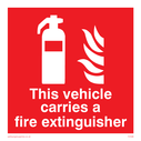 <p>inside fixing window sticker - fire extinguisher symbol</p> Text: this vehicle carries a fire extinguisher