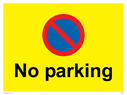 <p>No parking Red and blue symbol on yellow background</p> Text: