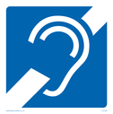Blue background with white ear and diagonal bar, induction loop symbol Text: Induction loop / Hearing Aid symbol only