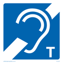 Blue background with white ear and diagonal bar and T, induction loop symbol Text: Induction loop / Hearing Aid with T symbol only