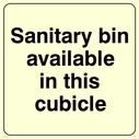 <p>Sanitary bin this cubicle</p> Text: Sanitary bin available in this cubicle feminine hygiene toilet disposal