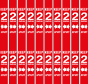 <p>Red 2m safe distance vinyl in a pack of 10 for marking 2 metre spaces applied vertically to a wall</p> Text: Keep 2M apart