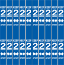 <p>Blue 2m safe distance vinyl in a pack of 10 for marking 2 metre spaces vertically on a wall</p> Text: Keep 2M apart