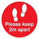 <p>Keep 2m distance floor graphics - to be applied a 2 metre intervals to support social distancing policy - Red</p> Text: Please keep 2m apart floor graphic red