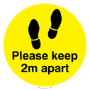 <p>Keep 2m distance floor graphics - to be applied a 2 metre intervals to support social distancing policy - Yellow</p> Text: Please keep 2m apart floor graphic Yellow