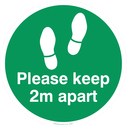 <p>Keep 2m distance floor graphics - to be applied a 2 metre intervals to support social distancing policy - Yellow</p> Text: Please keep 2m apart floor graphic green