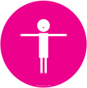 <p>Pink background child symbol showing 2m distance</p> Text: