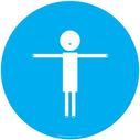 <p>Blue background child symbol showing 2m distance</p> Text: