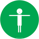 <p>Green background child symbol showing 2m distance</p> Text: