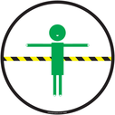 <p>white background2m think safe space symbol</p> Text: