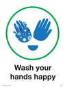 <p>Child friendly Wash your happy hands</p> Text: