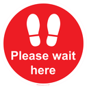 <p>Please wait here - red</p> Text: