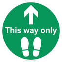 <p>This way only arrow point straight on and footprints</p> Text: This way only arrow point straight on and footprints