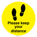 <p>Please keep your distance - Yellow/Black</p> Text: