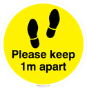 <p>Please keep 1m apart - yellow</p> Text: