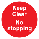 <p>Keep Clear No stopping - red background</p> Text: