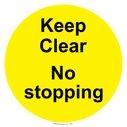 <p>Keep Clear No stopping - yellow background</p> Text: