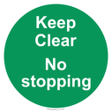 <p>Keep Clear No stopping - green background</p> Text:
