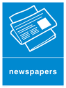 Blue background with white newspaper symbol and text Text: Newspapers
