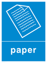 Blue background with white paper symbol and text Text: Papers