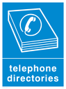 Blue background with white telephone directory symbol and text Text: Telephone Directories