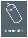 Grey background with white aerosol symbol and text Text: Aerosols