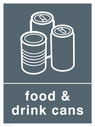 Grey background with white food & drink cans symbol and text Text: Food & Drink Cans