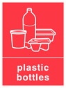 Red background with white plastic bottles symbol and text Text: Plastic Bottles