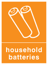 <p>Orange background with white batteries symbol and text</p> Text: Household Batteries