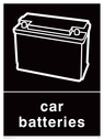 <p>Black background with white car battery symbol and text</p> Text: Car batteries