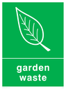 <p>Green background with white garden waste symbol and text</p> Text: Garden waste
