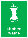 <p>Green background with white kitchen waste symbol and text</p> Text: Kitchen waste
